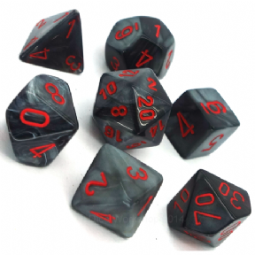 Black & Red Velvet Polyhedral 7 Dice Set
